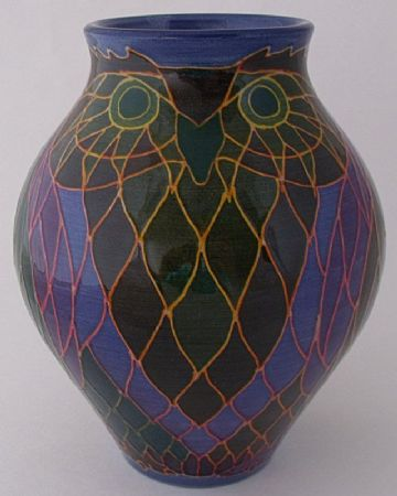 Dennis Chinaworks Pottery Owl Trial Vase By Sally Tuffin